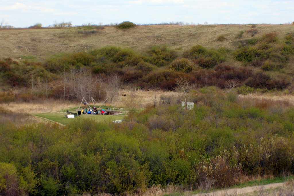 The archaeological dig site located in the Opimihaw Creek Valley at Wanuskewin Heritage Park.