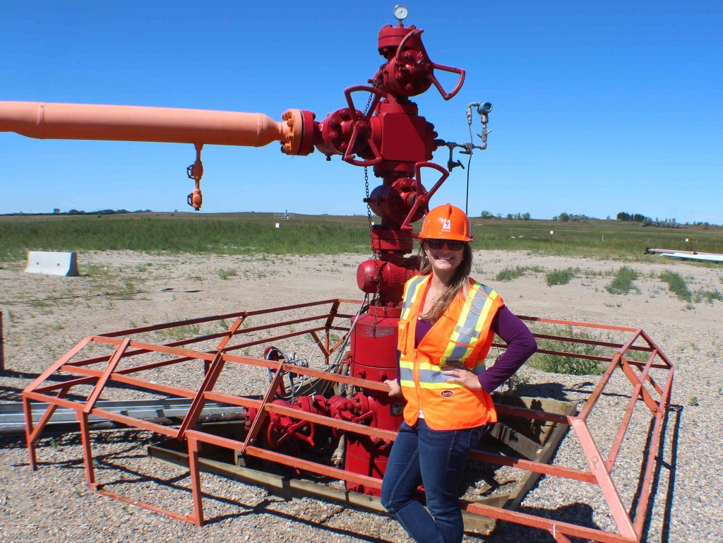 In front of the 3.4km well. The deepest in Saskatchewan.
