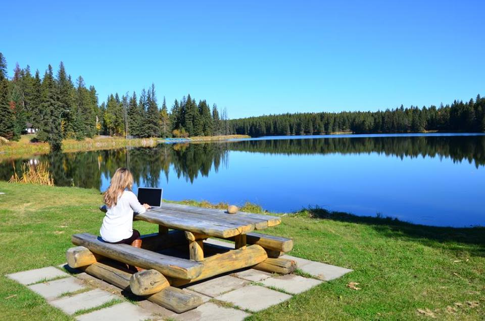 """In the office"" at Cypress Hills Interprovincial Park."