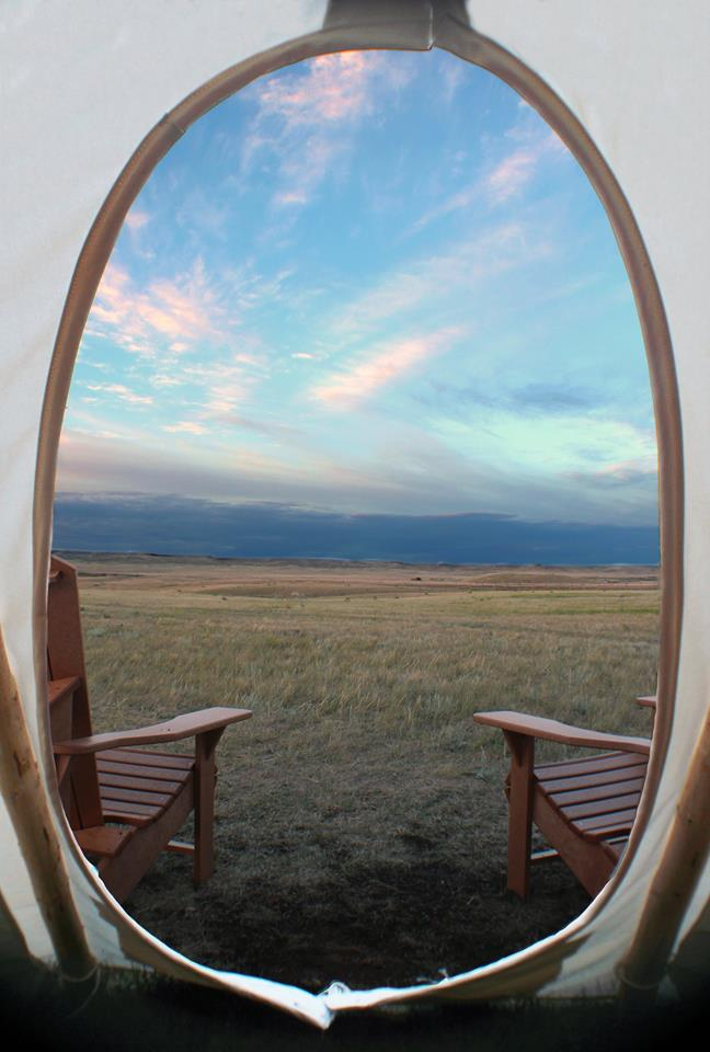 View from the tipi in Grasslands National Park.