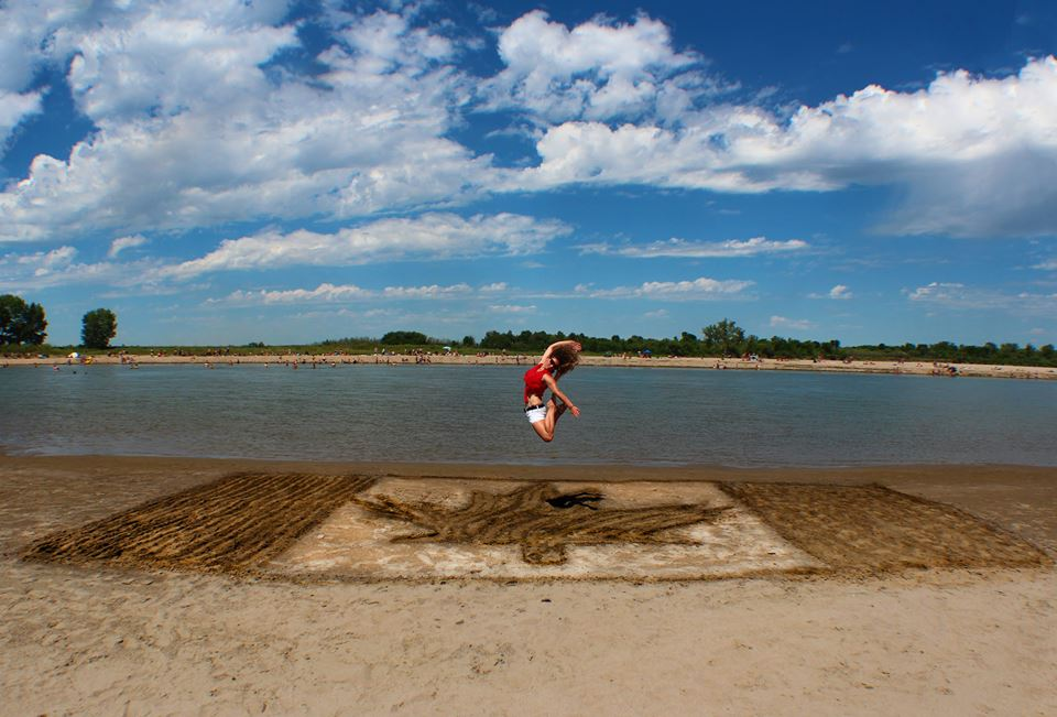 Canada Day sand flag at Paradise Beach near Saskatoon, Sask.