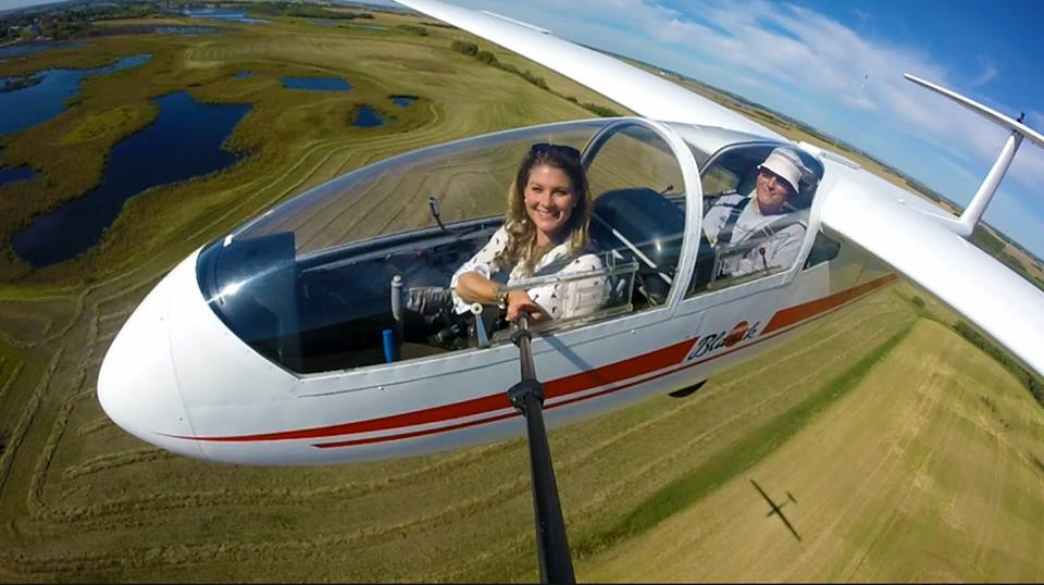Selfie in a glider with the Saskatoon Soaring Club above Cudworth, Sask.
