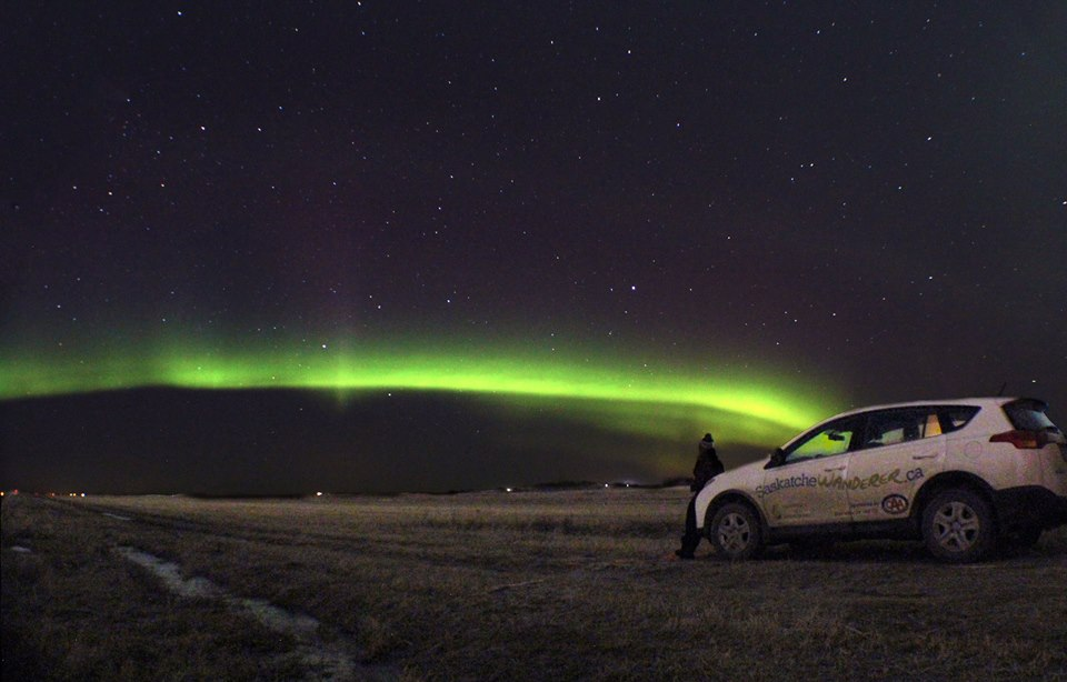 Northern lights over the Saskatchewanderer vehicle outside Saskatoon, Sask.